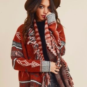 Sweaters - in stock SHANIA Tribal Print Fringe Cardigan